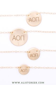 Shop this perfect Alpha Omicron Pi Greek letter necklace at www.alistgreek.com! Starting at just $30, available in 4 metal colors and 4 disc sizes. #circle #disc #necklace #sororitynecklace #customgift #personalized #handmade #custom #sororityjewelry #greekletters #sororityletters #loveyourletters #bidday #biglittle #aopi #aoii #alphaomicronpi Letter Necklace, Disc Necklace, Circle Necklace, Alpha Epsilon Phi, Greek Design, Gifts For Your Sister, Greek Jewelry, Party Plan, Sorority Gifts