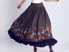 Maxi skirt Linen skirt  print long skirt ethnic skirt (0117)
