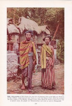 The Villagers of Bali - lower caste Hindus showing their love of color - color plate from 1940's book by route44west, $10.00