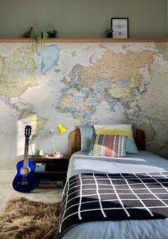 We love receiving photos from our customers! Travel the world from the comfort of your home with a stunning world map wallpaper. Available in a variety of styles and colours, our map wallpaper murals are perfect for the aspiring globe trotter or anyone who has already travelled the world. A world map mural really does make the perfect addition to any room in the home or office. Which map design will you choose from this popular collection? Discover more from Wallsauce! #map #worldmap… World Map Mural, World Map Wallpaper, Wall Wallpaper, Bedroom Wallpaper, Under Stairs Nook, Wardrobe Wall, Kids Room Design, Beautiful Bedrooms, Wall Murals