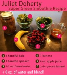 Check out this #energyboost #supergreen smoothie recipe from Juliet Doherty (San Francisco Ballet School, First Postition,) #Julietdoherty