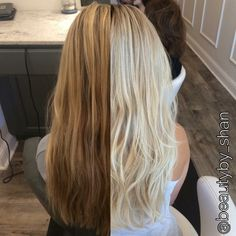 Before and after. Dark brassy blonde to platinum blonde. Rooty. Balayage. Blonde. @beautyby_shan