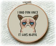 BOGO FREE! Grumpy Cat Cross Stitch Pattern, I Had Fun Once It Was Awful Cross Stitch, Embroidery Needlework PDF Instant Download  #017-2 by StitchLine on Etsy