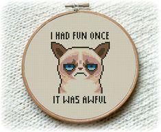 BOGO FREE! Grumpy Cat Cross Stitch Pattern, I Had Fun Once It Was Awful Cross Stitch, Embroidery Needlework PDF Instant Download  #017-2 by StitchLine on Etsy