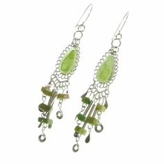 A stunning pale green glass teardrop with bead and alpaca silver fringe on a shepherd's crook for pierced ears.   Only £8.99