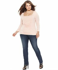 INC International Concepts Plus Size Ruched Top & Skinny Jeans