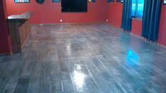 Interior concrete overlay wood plank floor Nebraska