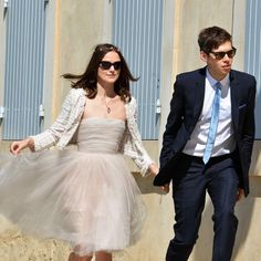 """#WeddingInspiration: In a small ceremony in Provence, France, Keira Knightley said """"I do"""" to James Righton in a no-fuss strapless tulle dress, a Chanel jacket, ballet flats, and a crown of flowers."""