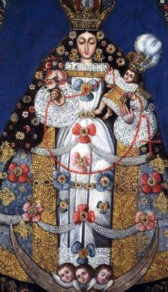 ANTIGUA IMAGEN DE NUESTRA SEÑORA DEL ROSARIO, BOLIVIA Catholic Art, Catholic Saints, Religious Art, Pintura Colonial, Colonial Art, Spanish Colonial, Divine Mother, Mother Mary, Holy Mary