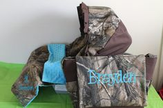 3pc TURQUOIS CHOCOLATE & REALTREE camo by LIZSSTITCHESdotCOM, $105.00