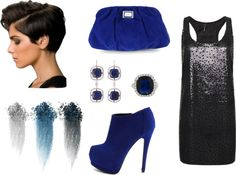 """social black and blue"" by leily-mejia on Polyvore"