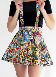 Marvel Suspender Skater Skirt – Spikes and Seams - Overalls Marvel Suspender Skater Skirt - Visit to grab an amazing super hero shirt now on sale! ◊ ◊ Take your inner nerd to the next level with this suspender skirt ◊ ◊ ⟫ Adjustable suspender Cute Fashion, Look Fashion, Teen Fashion, Fashion Outfits, Womens Fashion, Dress Fashion, Mode Geek, Diy Clothes, Clothes For Women
