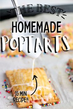 Homemade Easy Pop Tarts are made with only five ingredients and packed with amazing flavor. A light, flaky crust filled with your choice of fruit filling is a perfect way to start your day! #copycatpoptarts #homemadepoptarts Homemade Donuts, Five Ingredients, Holiday Recipes, Party Recipes, Barbecue Recipes, Pinterest Recipes, Air Fryer Recipes, Pop Tarts, Easy