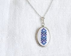 Items similar to Hand embroidered necklace melange blue - on Etsy Embroidery Hoop Art, Cross Stitch Embroidery, Cross Stitch Patterns, Cross Stitch Cushion, Mini Cross Stitch, Floral Necklace, Purple Lilac, Embroidery Techniques, Handmade Accessories