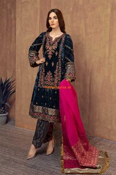 Formal Winter Party Wear Dresses Maria B Stitched Collection for women & kids includes best designs of ready to wear shirts, frocks, kurtas, Velvet Pakistani Dress, Pakistani Dresses Shalwar Kameez, Latest Pakistani Dresses, Pakistani Fashion Party Wear, Pakistani Bridal Dresses, Pakistani Dress Design, Pakistani Outfits, Pakistani Clothing, Shadi Dresses