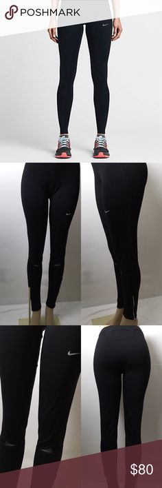 Jet Black Nike Leggings   These are sexy!! They are super stretchy, have zippers at the bottom of the legs, reflector stripes at the knees, a pocket on the bum. Nike Dri Fit. Perfect for yoga, working out, ext. Ask any questions! Nike Pants Leggings