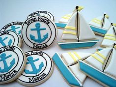 Flour Box Bakery has hand-iced decorated cookie gifts and favors, how-to cookie decorating video tutorials, and professional and affordable decorating supplies. Summer Cookies, Fun Cookies, Cupcake Cookies, Decorated Cookies, Anchor Cookies, Crazy Cookies, Nautical Cake, Nautical Party, Nautical Anchor