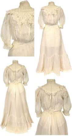 Graduation dress, 1907. Plain weave; Lace, machine. Cotton lawn; Princesse lace (imitation); Cluny lace (imitation); Valenciennes lace (imitation); Metal hooks; Wire stays. Hand-sewn; stays. Henry Art Gallery, Univ. of Washington