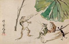 School of frogs by Kawanabe Kyosai