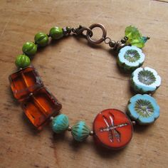 DRAGONFLY BRACELET featuring czech glass beads BY rocksandragsbylorrie on Etsy.  26.00