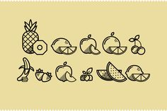 Fruit Icons by Guilherme Zamarioli, via Behance