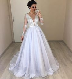 2018 Vintage Lace Wedding Dress Long Sleeves Appliques Sexy Deep V-Neck Satin Tulle Sweep Train Modest Bridal Gown · YooYooDress · Online Store Powered by Storenvy Wedding Gowns With Sleeves, Sexy Wedding Dresses, Long Sleeve Wedding, Bridal Dresses, Vintage Lace Weddings, Classic Wedding Dress, Marie, Satin Tulle, Dress Long