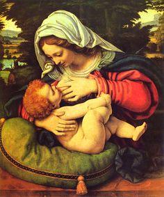 Virgin Painting - Virgin Mary Breastfeeding Jesus by Magdalena Walulik