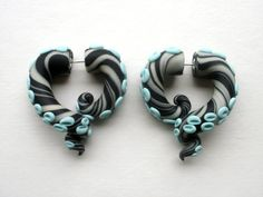 Blue Zebra Tentacle Fake Gauged Earring by deceptions on Etsy, $22.00