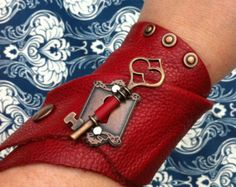 EmBracer - Custom-Made Wrap Around Leather Cuff Bracer Raw-edged Red Scarlet Cow with Antique Copper Key, Rivets and Escutcheon Keyhole.