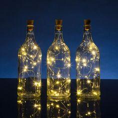 BULK PACK (3) Solar Powered 15 Warm White LED Cork Wine Bottle Lamp Fairy String Light Stopper, 5FT (3pc)