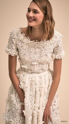 bhldn 2018 bridal short sleeves bateau neck full embellishment romantic tea length short wedding dress (10) zv