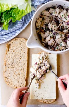 Grilled Cranberry Walnut Chicken Salad Sandwiches- diced chicken mixed with mayo, dried cranberries, chives, and walnuts are like the best flavors to ever happen to chicken salad! Serve with havarti cheese slices on your favorite bread and eat cold or grilled!
