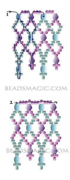 Free pattern for necklace Adriatic - 2. U need: faceted beads 5-6 mm bicone beads 5-6 mm seed beads 10/0 – 11/0