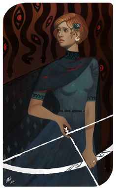 madnessdemon.tumblr: Lewisia, tarot commission for FEIdrawings. Card: Nine of wands.