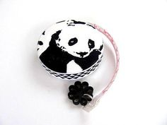 Tape Measure Black and White Panda Bear by AllAboutTheButtons