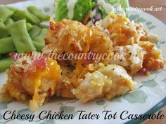 Slow Cooker Cheesy Tater Tot Casserole - The Country Cook