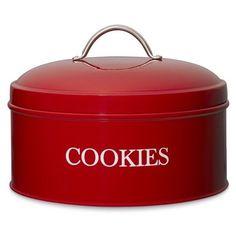 Cookies and other treats find stylish storage in this red baker's box modeled after vintage English tins. A rubber seal on the lid helps keep baked goods fresh… Kitchen Jars, Red Kitchen, Kitchen Pantry, Kitchen Decor, Kitchen Dining, Kitchen Things, Kitchen Stuff, Kitchen Storage, Cookie Box