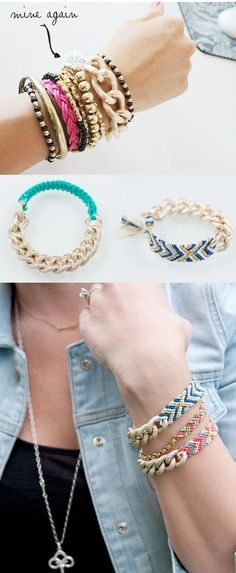Easy DIY combined chains and friendship bracelets for a funky take on the childhood classic.