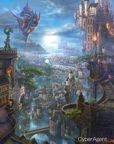 Fantasy city with bridges and airship