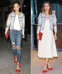 Make a statement jacket work for both day and night a la Jamie Chung.