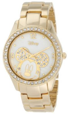 Disney Women's MK2127 Mickey Mouse Rhinestone Accent Gold-Tone Bracelet Watch Disney. $22.99. Clear rhinestone accented round case. Analog-Quartz movement. Case diameter: 37 mm. Gold-tone links, with jewelry clasp. Gold UP Mickey Mouse on genuine white Mother-Of-Pearl dial with Arabic numeral display