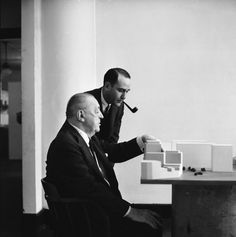 Ludwig Mies Van Der Rohe and realtor Herbert Greenwald, 1956    photograph by Frank Scherschel