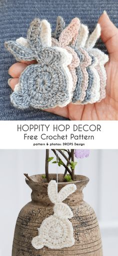 Quick Bunny Applique Free Crochet Patterns - Häkeltante - You are in the right place about amigurumi free pattern beginner Here we offer you the most beauti - Crochet Easter, Easter Crochet Patterns, Crochet Bunny Pattern, Crochet Crafts, Yarn Crafts, Free Crochet, Knitting Patterns, Knit Crochet, Crochet Applique Patterns Free