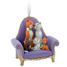 Aristocats on purple chair ornament