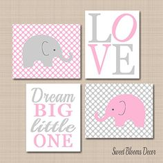 Elephant Nursery Wall ArtPink Gray Elephant Wall ArtElephant Nursery DecorPink Gray NurseryPink Gray Girl Nursery DecorDream Big Elephant Wall ArtUNFRAMED Set of 4 PRINTS NOT CANVAS -- Be sure to check out this awesome product.