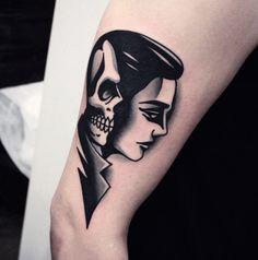 Simple Blackwork Tattoo Ideas Of Face Tattoo And Skull With Black Tattoo Ink At Arm Tattoo