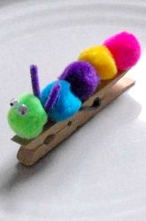 Cute PomPom Caterpillar  Did this with a yarn wrapped toilet paper tube as the chrysalis and then we decorated coffee filters to make the wings.