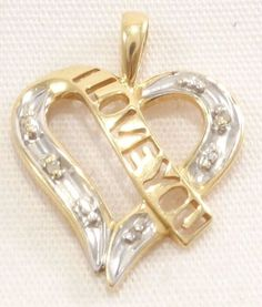 10k Solid Gold I Love You Pendant Diamond Accents Heart Two-Tone Free Shipping #Pendant