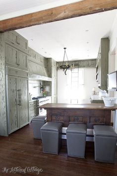 Old Cloverdale House | Ashley Gilbreath Interiors | Montgomery Alabama | Green Cypress Kitchen Cabinets | Gray Stools | Salvaged Bar