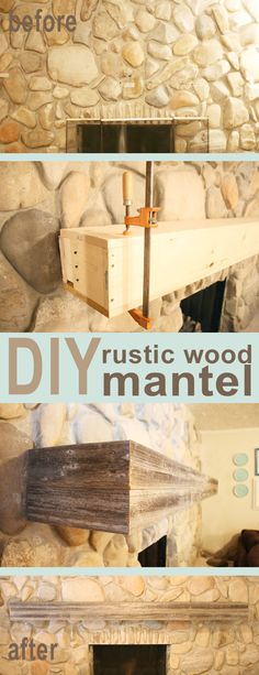 DIY rustic wood mantel  #wood_mantel #rustic #fireplace